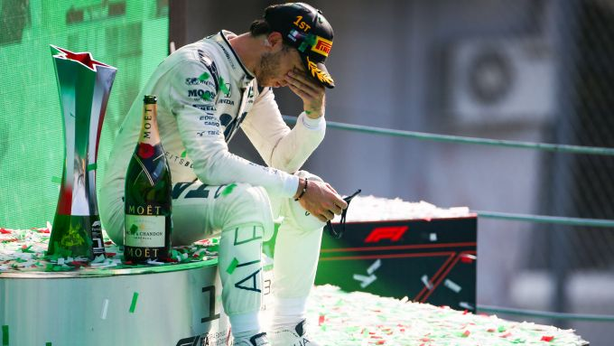 F1 GP Italia 2020, Monza: Pierre Gasly (AlphaTauri) commosso sul podio