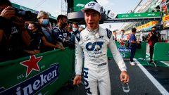 F1 GP Italia 2020, Monza: Pierre Gasly (AlphaTauri) festeggia la vittoria dopo il traguardo