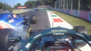 F1 GP Italia 2021, Monza: il contatto tra Esteban Ocon (Alpine) e Sebastian Vettel (Aston Martin)