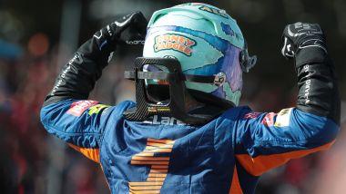 F1 GP Italia 2021, Monza: l'ormai celebre esultanza di Daniel Ricciardo (McLaren F1 Team)