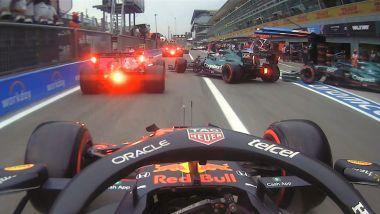 F1 GP Italia 2021, Monza: l'unsafe release di Aston Martin e Alpine dalla visuale di Verstappen (Red Bull)