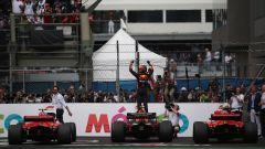 F1 GP Messico 2018, Città del Messico, Hermanos Rodriguez: podio Verstappen (Red Bull), Vettel e Raikkonen (Ferrari)