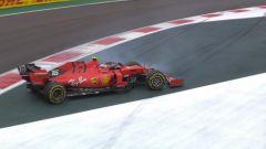 F1 GP Messico 2019, Città del Messico: il testacoda di Charles Leclerc (Ferrari) a fine PL2
