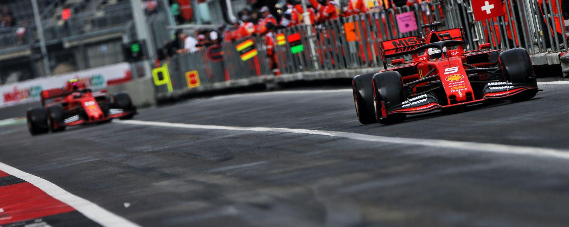 F1 GP Messico 2019, Città del Messico: le due Ferrari di Vettel e Leclerc