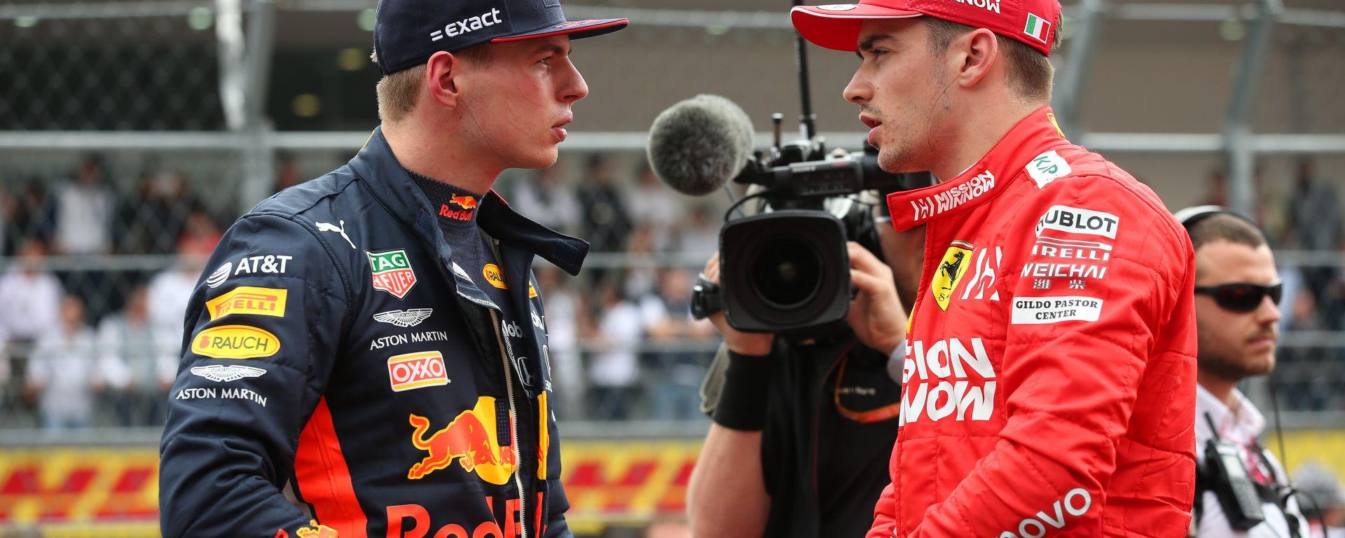F1 GP Messico 2019, Città del Messico: Max Verstappen (Red Bull) e Charles Leclerc (Ferrari)