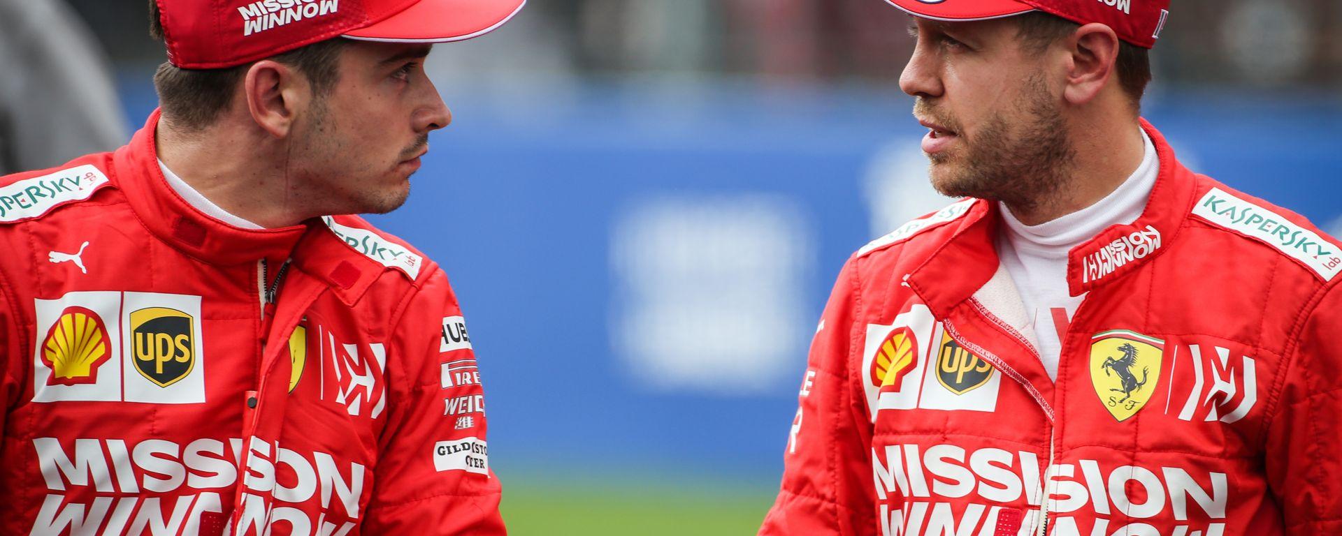 F1 GP Messico 2019, Città del Messico: Sebastian Vettel e Charles Leclerc (Ferrari)