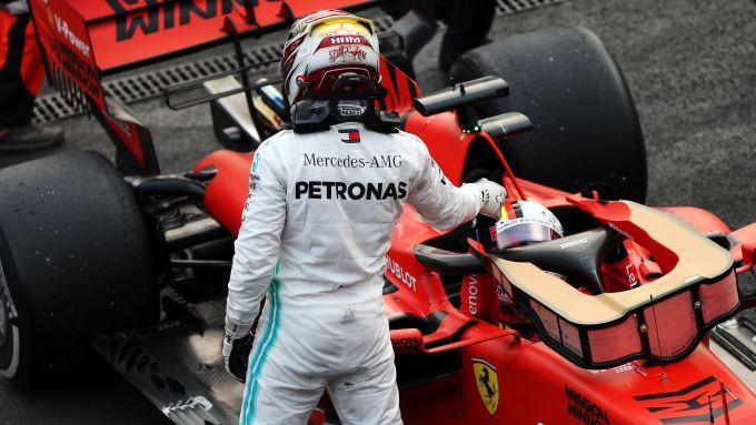 F1 GP Messico 2019, Hermanos Rodriguez: Lewis Hamilton (Mercedes) e Sebastian Vettel (Ferrari)