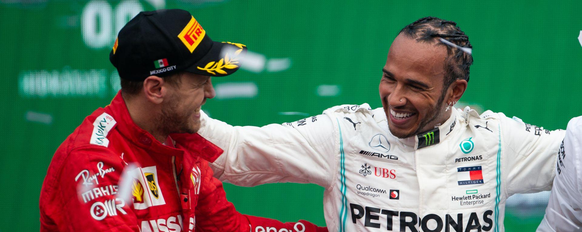 F1 GP Messico 2019, Hermanos Rodriguez: Sebastian Vettel (Ferrari), Lewis Hamilton (Mercedes)