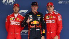F1, GP Messico 2019: i primi tre classificati delle qualifiche Sebastian Vettel (Ferrari), Max Verstappen (Red Bull) e Charles L