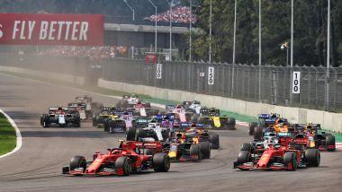 F1, GP Messico 2019: le due Ferrari al comando alla prima curva