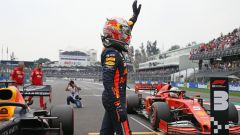 F1, GP Messico 2019: Max Verstappen (Red Bull) festeggia la pole position