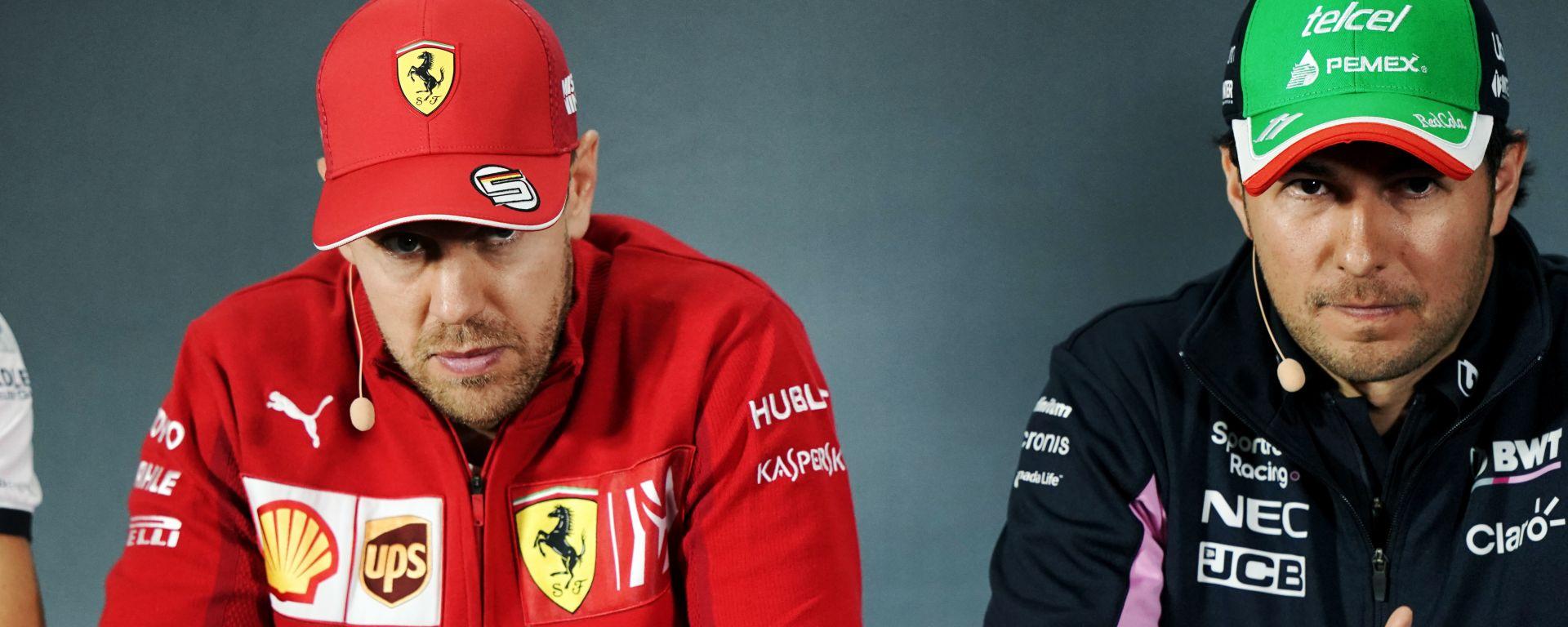 F1, GP Messico 2019: Sebastian Vettel (Ferrari) e Sergio Perez (Racing Point)