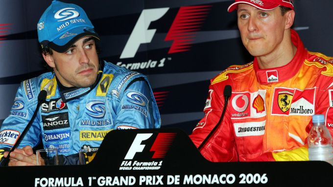 F1, GP Monaco 2006: Fernando Alonso (Renault) e Michael Schumacher (Ferrari)