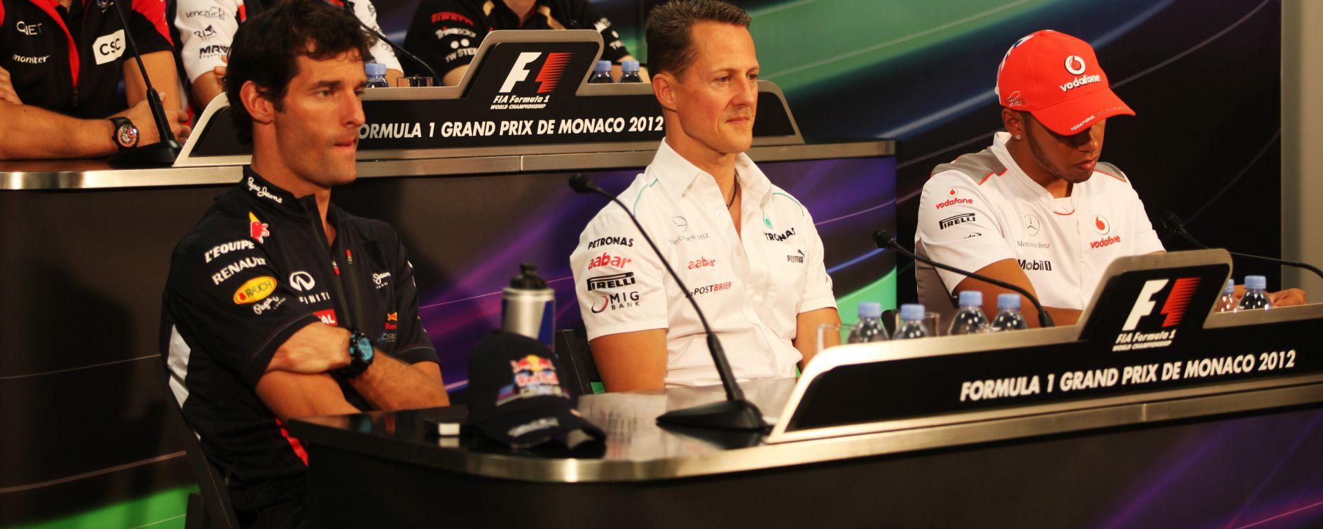 F1, GP Monaco 2012: Mark Webber (Red Bull), Michael Schumacher (Mercedes) e Lewis Hamilton (McLaren)