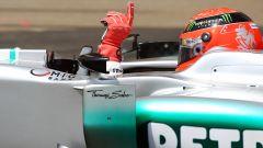 F1, GP Monaco 2012: Michael Schumacher (Mercedes) festeggia la pole position
