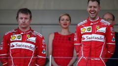 F1, GP Monaco 2017: Sebastian Vettel e un corrucciato Kimi Raikkonen (Ferrari)