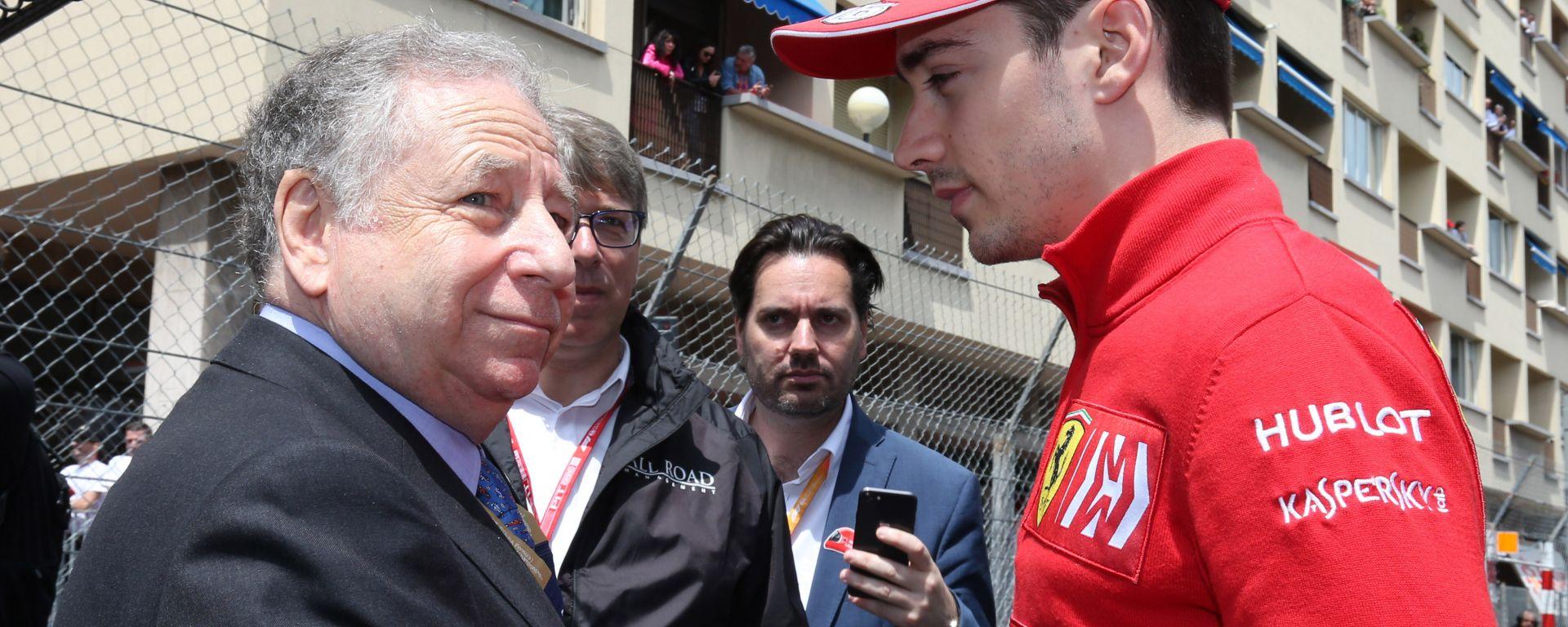 F1 GP Monaco 2019, Monte Carlo, Jean Todt (FIA) e Charles Leclerc (Ferrari)