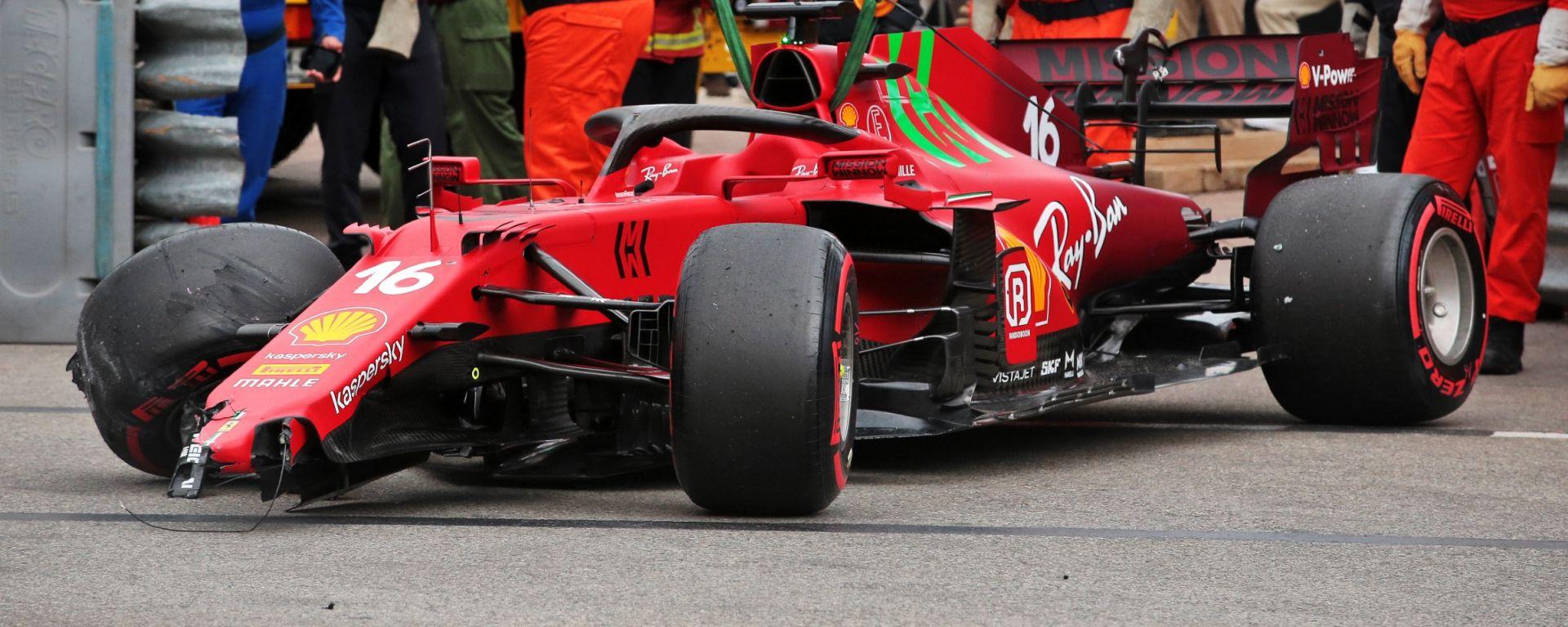 F1, GP Monaco 2021: i rottami della Ferrari di Charles Leclerc