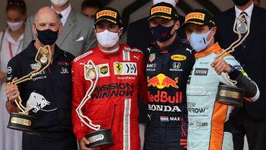 F1, GP Monaco 2021: il podio con Sainz, Verstappen e Norris