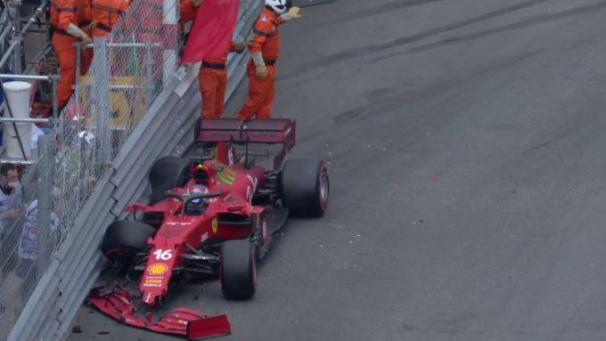 F1 GP Monaco 2021, Monte Carlo: Charles Leclerc (Scuderia Ferrari) a muro in Q3