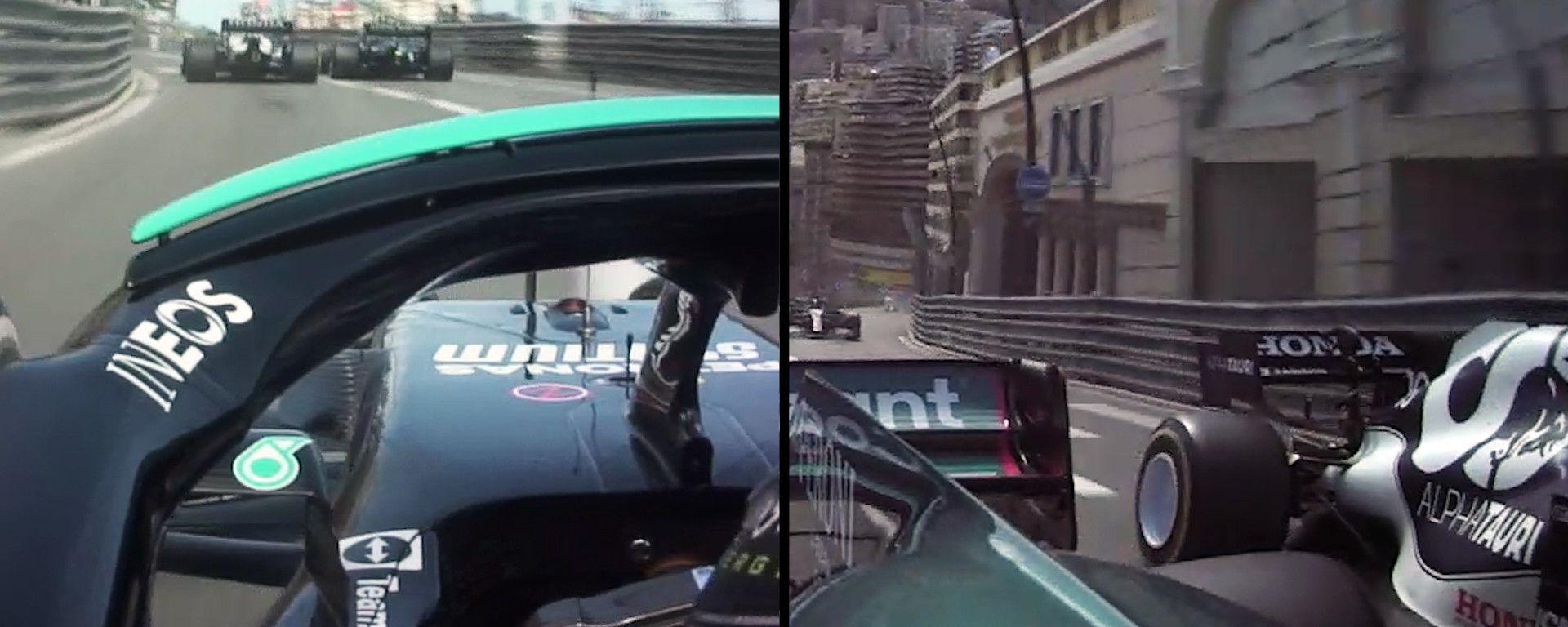 F1 GP Monaco 2021, Monte Carlo: il sorpasso di Vettel (Aston Martin) a Gasly (AlphaTauri)