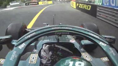 F1 GP Monaco 2021, Monte Carlo: Lance Stroll (Aston Martin) tocca ma non attraversa la linea gialla