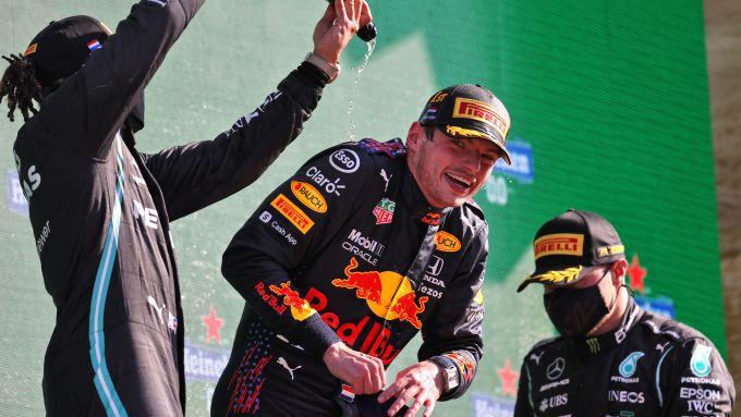 F1 GP Olanda 2021, Zandvoort, il podio con Max Verstappen (Red Bull), Lewis Hamilton e Valtteri Bottas (Mercedes)