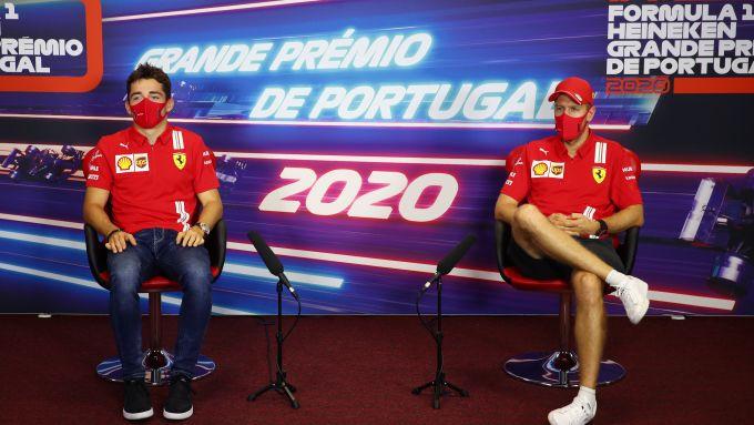 F1, GP Portogallo 2020: Charles Leclerc e Sebastian Vettel (Ferrari)