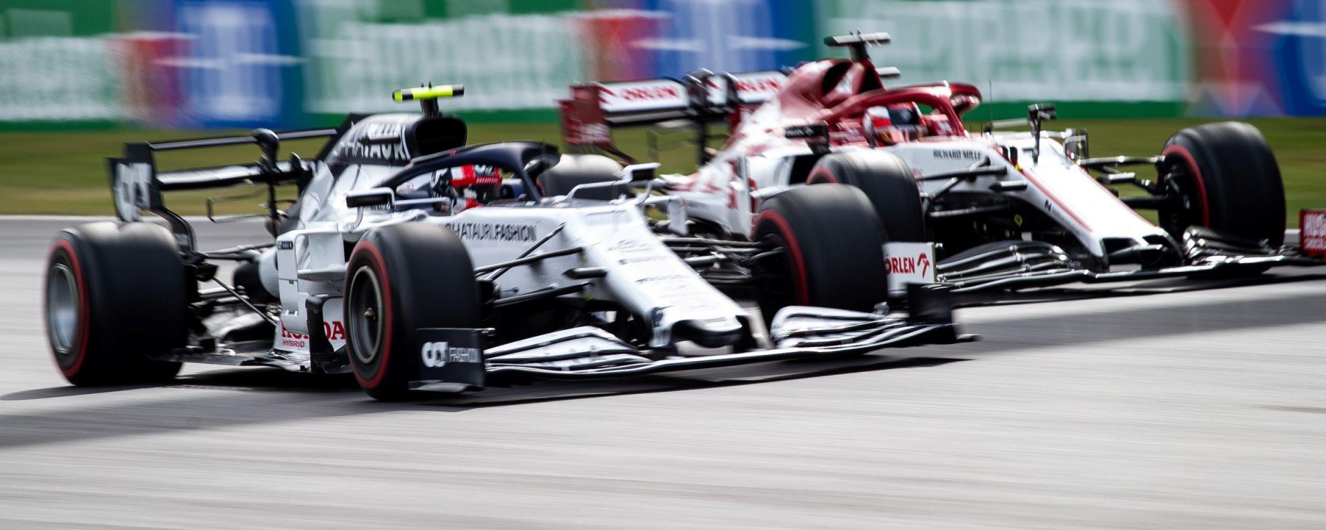 F1, GP Portogallo 2020: Kimi Raikkonen (Alfa Romeo) e Pierre Gasly (AlphaTauri)