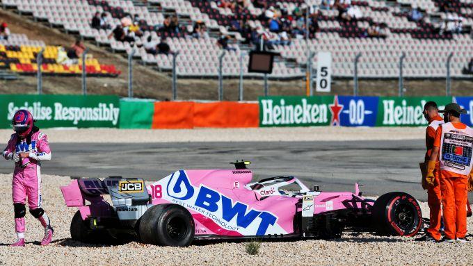 F1, GP Portogallo 2020: Lance Stroll (Racing Point) dopo l'incidente con Max Verstappen