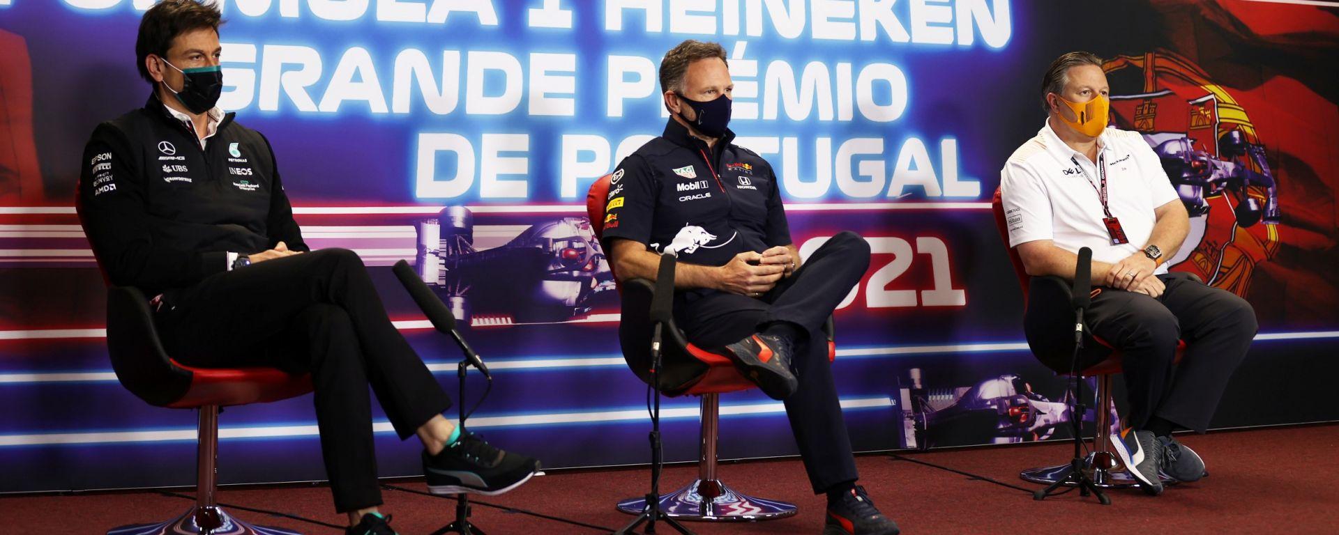 F1, GP Portogallo 2021: la conferenza stampa con Toto Wolff (Mercedes), Chris Horner (Red Bull) e Zak Brown (McLaren)