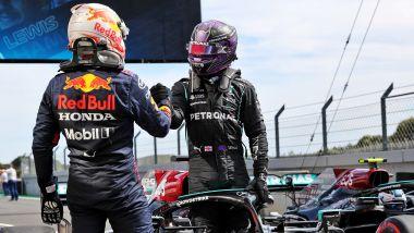 F1, GP Portogallo 2021: Max Verstappen (Red Bull) e Lewis Hamilton (Mercedes) a fine gara