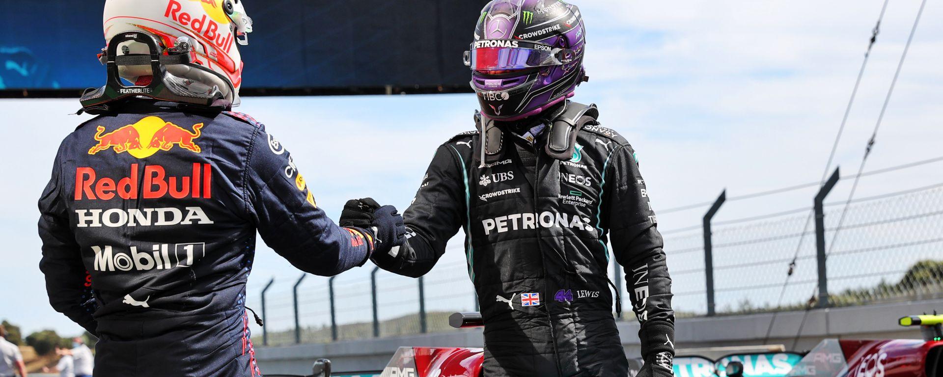 F1 GP Portogallo 2021, Portimao: Lewis Hamilton (Mercedes) e Max Verstappen (Red Bull)