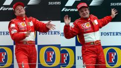 F1 GP Regno Unito 2003, Silverstone: un collage dell'esultanza di Rubens Barrichello (Ferrari)