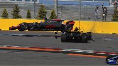 F1 GP Russia 2017, crash tra Romain Grosjean e Jolyon Palmer