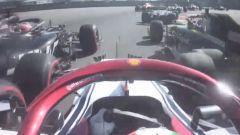 F1 GP Russia 2019, Sochi: Giovinazzi (Alfa Romeo) impatta con Grosjean (Haas) e Ricciardo (Renault)