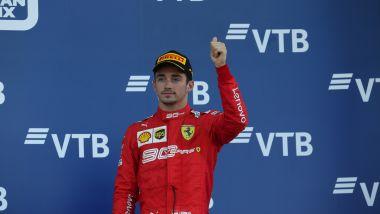 F1 GP Russia 2019, Sochi: Leclerc (Ferrari) deluso sul terzo gradino del podio