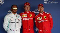 F1 GP Russia 2019, Sochi, Lewis Hamilton (Mercedes), Charles Leclerc e Sebastian Vettel (Ferrari)
