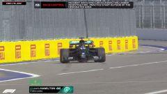 F1 GP Russia 2020, Sochi: il momento in cui Hamilton (Mercedes AMG F1) ha commesso l'infrazione