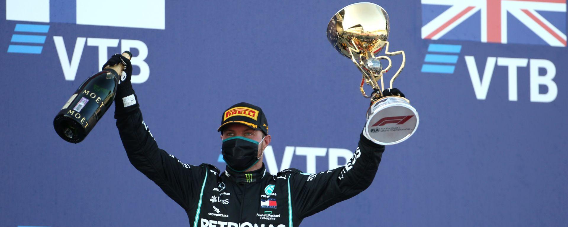 F1, GP Russia 2020: Valtteri Bottas (Mercedes) festeggia sul podio