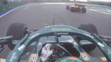 F1 GP Russia 2021, Sochi: Lance Stroll (Aston Martin) ostacolato da Daniel Ricciardo (McLaren F1)