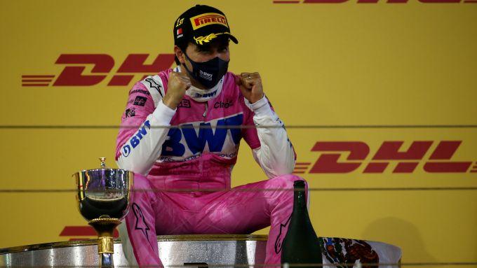 F1 GP Sakhir 2020, Manama: Sergio Perez (Racing Point) sul gradino più alto del podio
