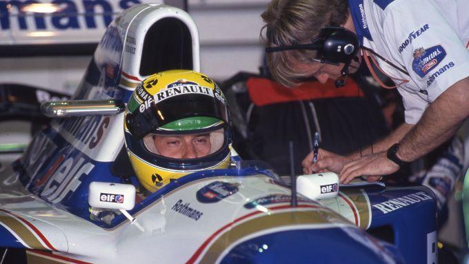 F1 GP San Marino 1994, Imola: Ayrton Senna (Williams Racing) prima del via della gara