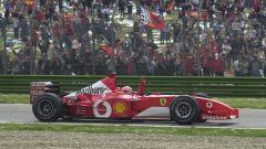 F1, GP San Marino 2002: Michael Schumacher (Ferrari) festeggia la vittoria