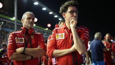 F1 GP Singapore 2018, Marina Bay: Maurizio Arrivabene e Mattia Binotto (Ferrari) in griglia di partenza