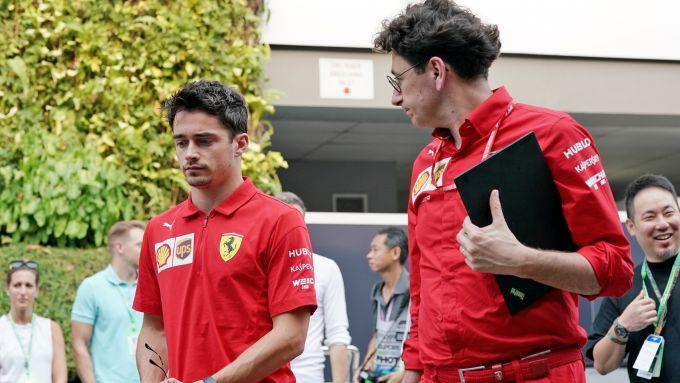 F1, GP Singapore 2019: Charles Leclerc con Mattia Binotto, team principal Ferrari