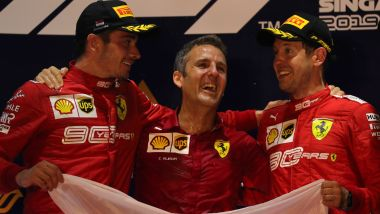 F1 GP Singapore 2019, Marina Bay: Charles Leclerc, Inaki Rueda e Sebastian Vettel (Ferrari)