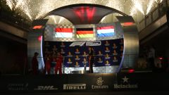 F1 GP Singapore 2019, Marina Bay, il podio con Vettel e Leclerc (Ferrari) e Verstappen (Red Bull)