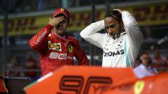 F1 GP Singapore 2019, Marina Bay, Lewis Hamilton (Mercedes) e Sebastian Vettel (Ferrari)