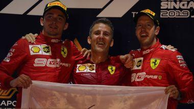 F1 GP Singapore 2019, Marina Bay, Sebastian Vettel e Charles Leclerc (Ferrari) con Inaki Rueda